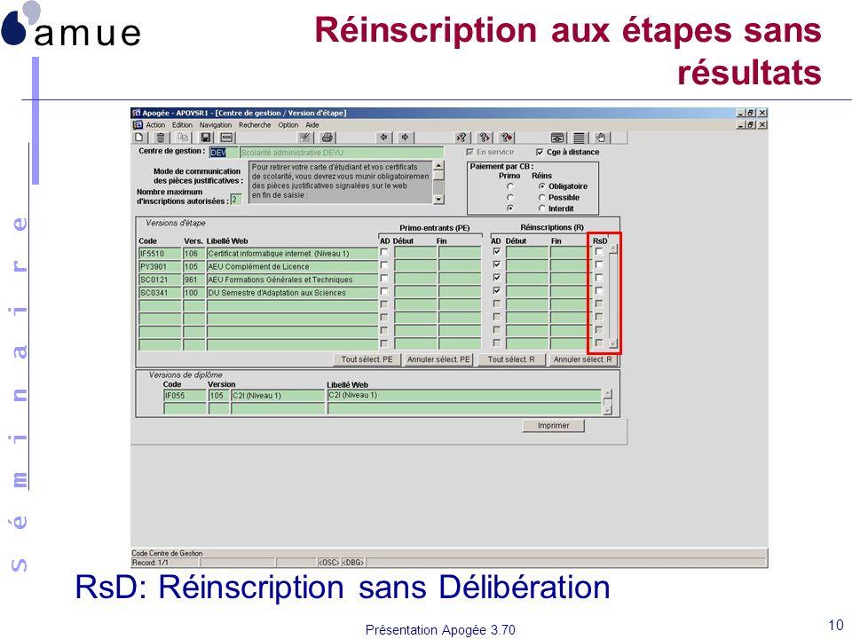 S é m i n a i r e Présentation Apogée 3.70 10 Réinscription aux étapes sans résultats RsD: Réinscription sans Délibération