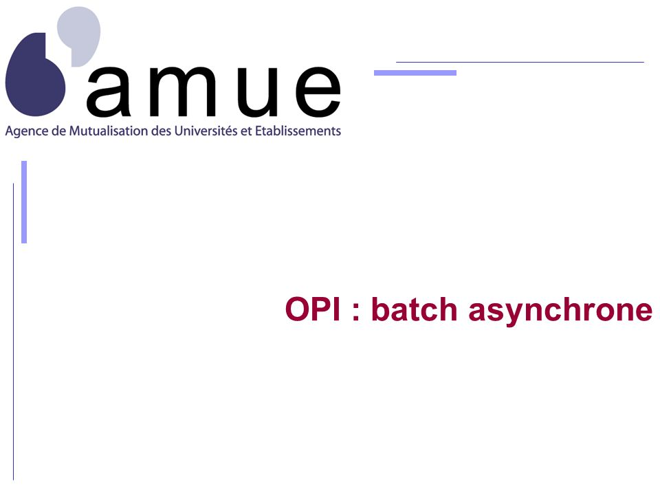 OPI : batch asynchrone