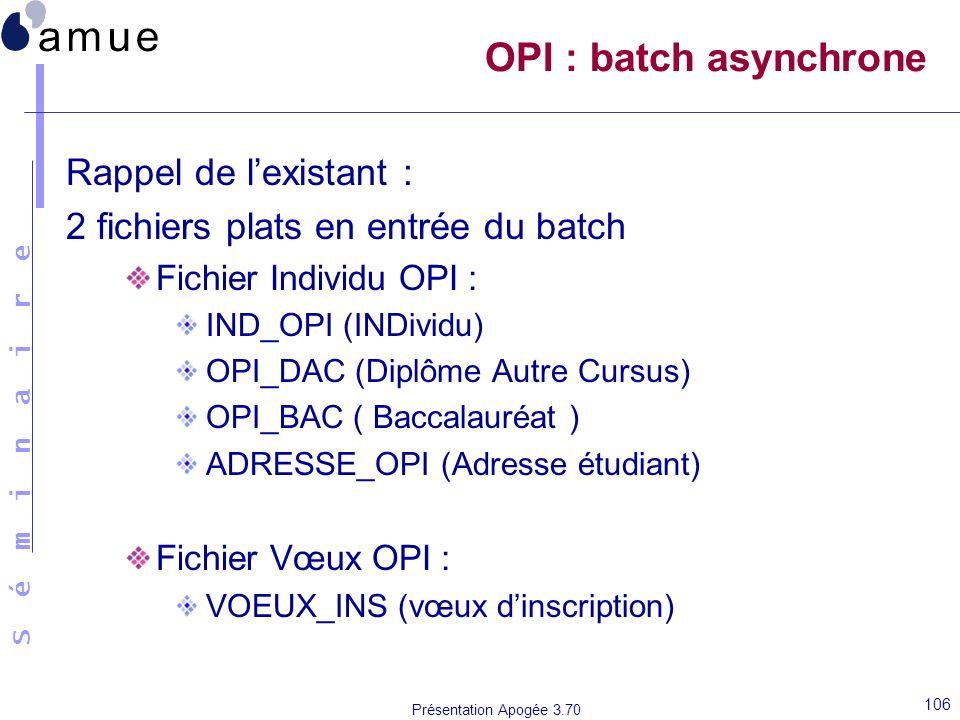S é m i n a i r e Présentation Apogée 3.70 106 OPI : batch asynchrone Rappel de lexistant : 2 fichiers plats en entrée du batch Fichier Individu OPI :