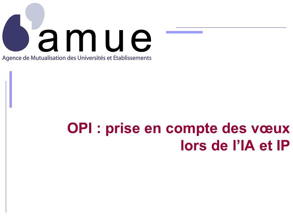OPI : prise en compte des vœux lors de lIA et IP