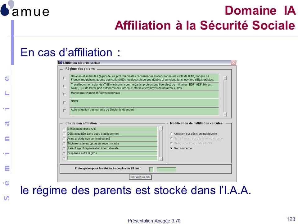 S é m i n a i r e Présentation Apogée 3.70 123 En cas daffiliation : le régime des parents est stocké dans lI.A.A. Domaine IA Affiliation à la Sécurit