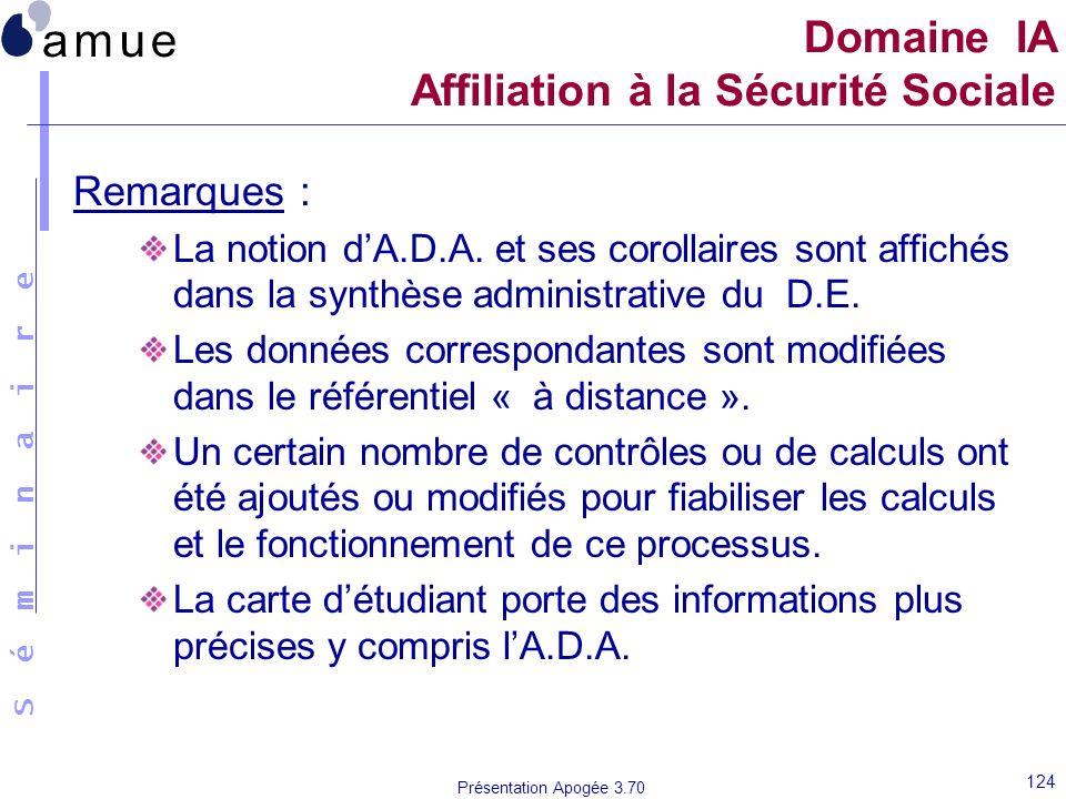 S é m i n a i r e Présentation Apogée 3.70 124 Remarques : La notion dA.D.A. et ses corollaires sont affichés dans la synthèse administrative du D.E.