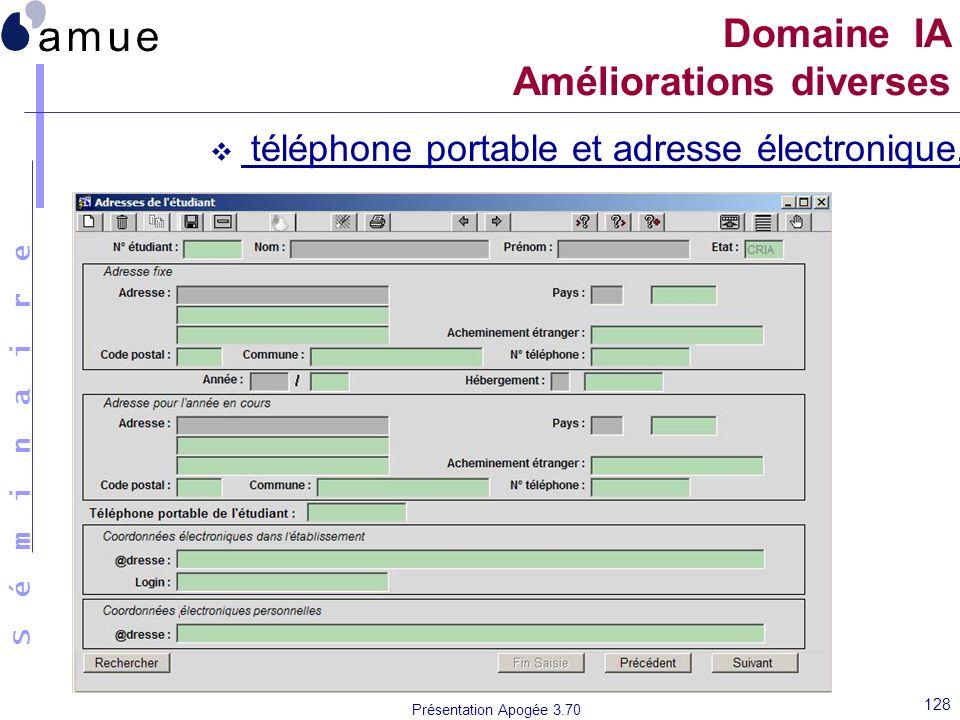 S é m i n a i r e Présentation Apogée 3.70 128 téléphone portable et adresse électronique, Domaine IA Améliorations diverses