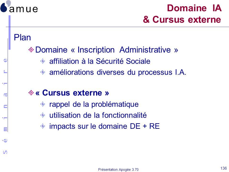 S é m i n a i r e Présentation Apogée 3.70 136 Domaine IA & Cursus externe Plan Domaine « Inscription Administrative » affiliation à la Sécurité Socia