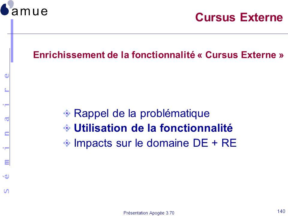 S é m i n a i r e Présentation Apogée 3.70 140 Cursus Externe Rappel de la problématique Utilisation de la fonctionnalité Impacts sur le domaine DE +