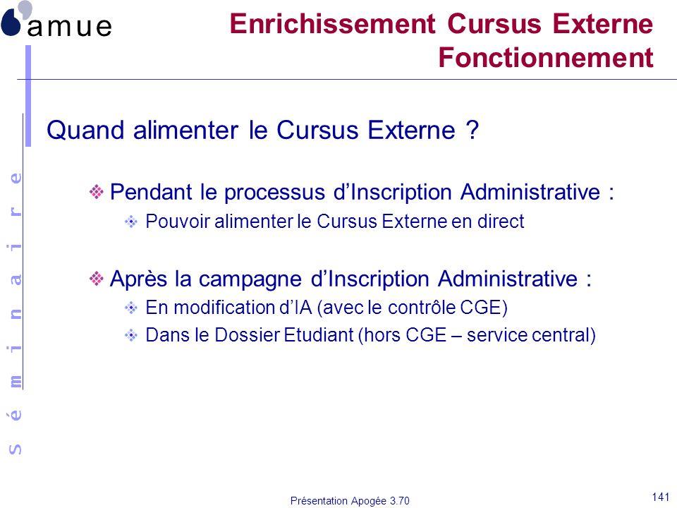 S é m i n a i r e Présentation Apogée 3.70 141 Enrichissement Cursus Externe Fonctionnement Quand alimenter le Cursus Externe ? Pendant le processus d