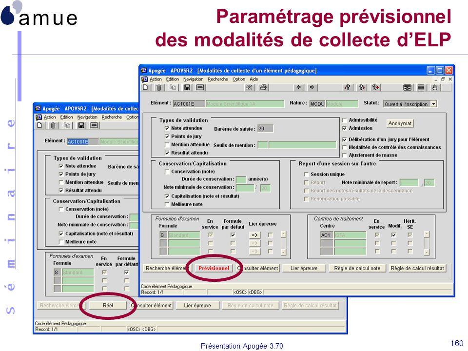 S é m i n a i r e Présentation Apogée 3.70 160 Paramétrage prévisionnel des modalités de collecte dELP