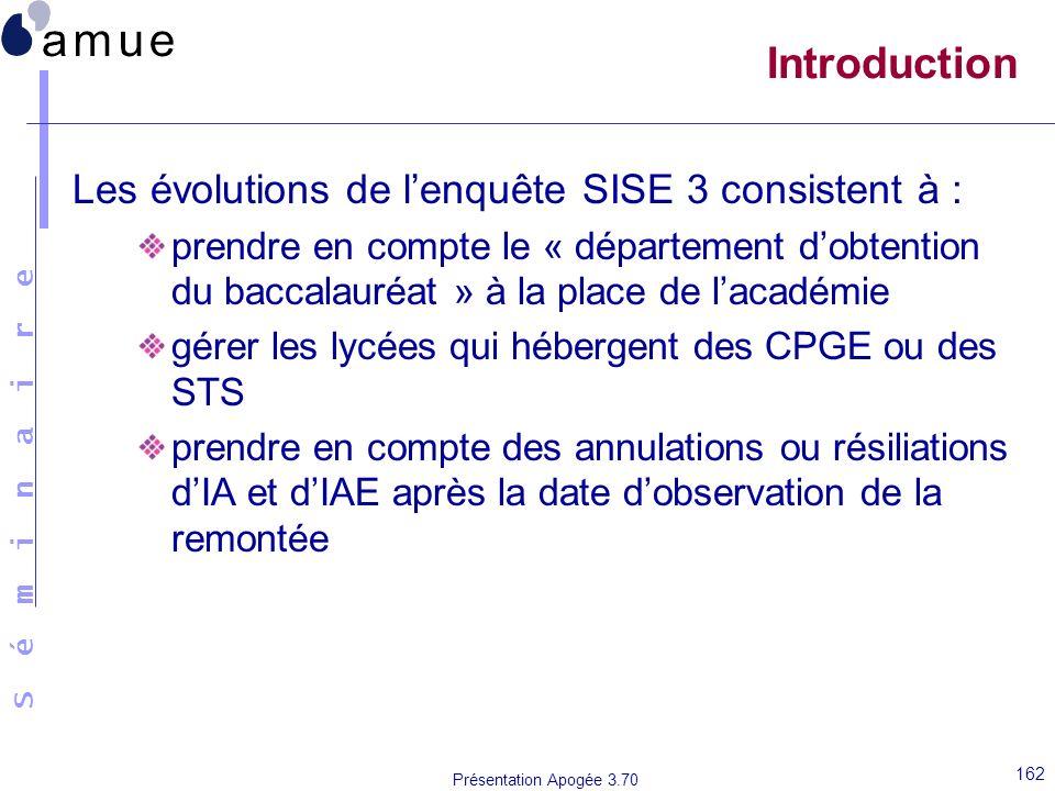 S é m i n a i r e Présentation Apogée 3.70 162 Introduction Les évolutions de lenquête SISE 3 consistent à : prendre en compte le « département dobten