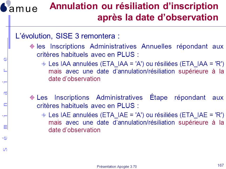 S é m i n a i r e Présentation Apogée 3.70 167 Annulation ou résiliation dinscription après la date dobservation Lévolution, SISE 3 remontera : les In