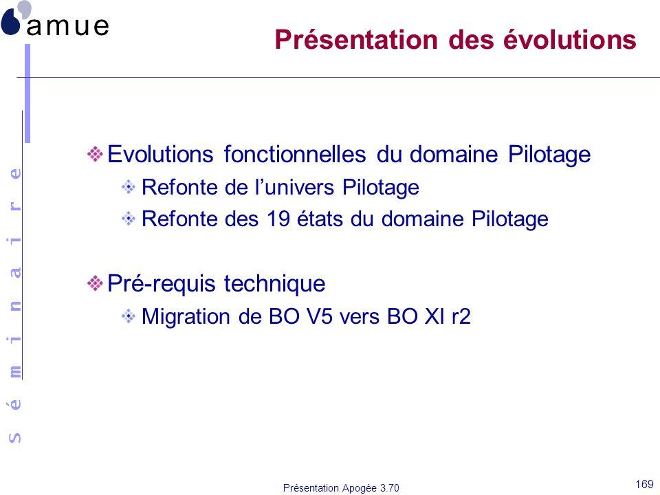 S é m i n a i r e Présentation Apogée 3.70 169 Présentation des évolutions Evolutions fonctionnelles du domaine Pilotage Refonte de lunivers Pilotage