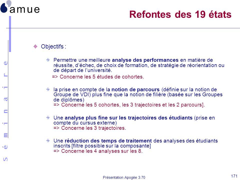 S é m i n a i r e Présentation Apogée 3.70 171 Refontes des 19 états Objectifs : Permettre une meilleure analyse des performances en matière de réussi