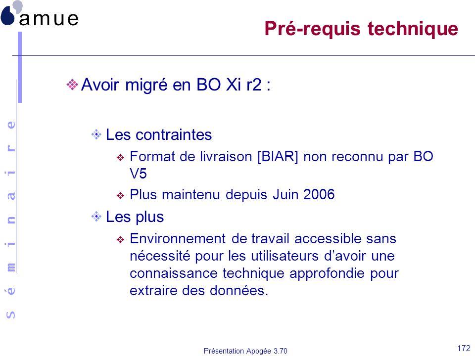 S é m i n a i r e Présentation Apogée 3.70 172 Pré-requis technique Avoir migré en BO Xi r2 : Les contraintes Format de livraison [BIAR] non reconnu p
