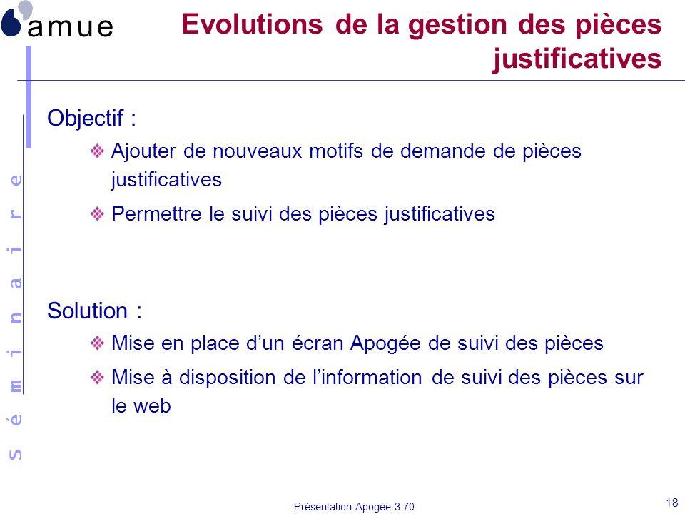 S é m i n a i r e Présentation Apogée 3.70 18 Evolutions de la gestion des pièces justificatives Objectif : Ajouter de nouveaux motifs de demande de p
