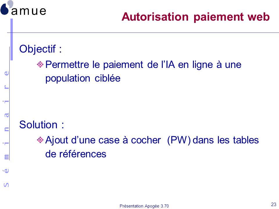 S é m i n a i r e Présentation Apogée 3.70 23 Autorisation paiement web Objectif : Permettre le paiement de lIA en ligne à une population ciblée Solut