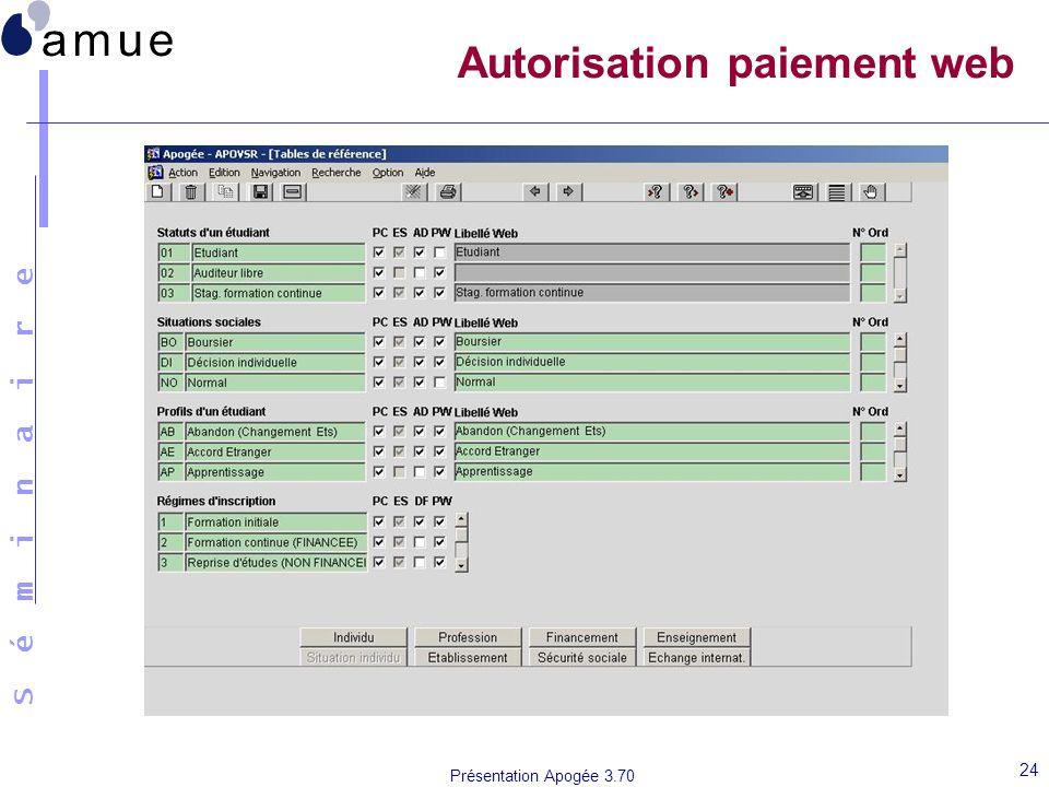 S é m i n a i r e Présentation Apogée 3.70 24 Autorisation paiement web
