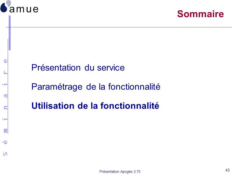 S é m i n a i r e Présentation Apogée 3.70 45 Sommaire Présentation du service Paramétrage de la fonctionnalité Utilisation de la fonctionnalité