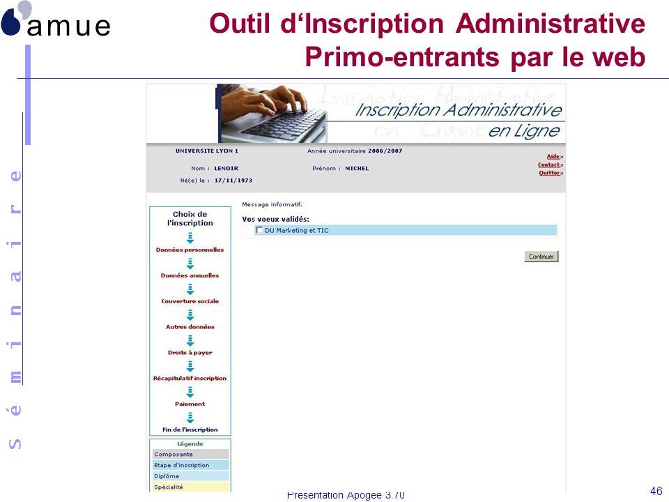 S é m i n a i r e Présentation Apogée 3.70 46 Outil dInscription Administrative Primo-entrants par le web