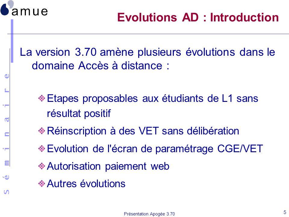 S é m i n a i r e Présentation Apogée 3.70 5 Evolutions AD : Introduction La version 3.70 amène plusieurs évolutions dans le domaine Accès à distance