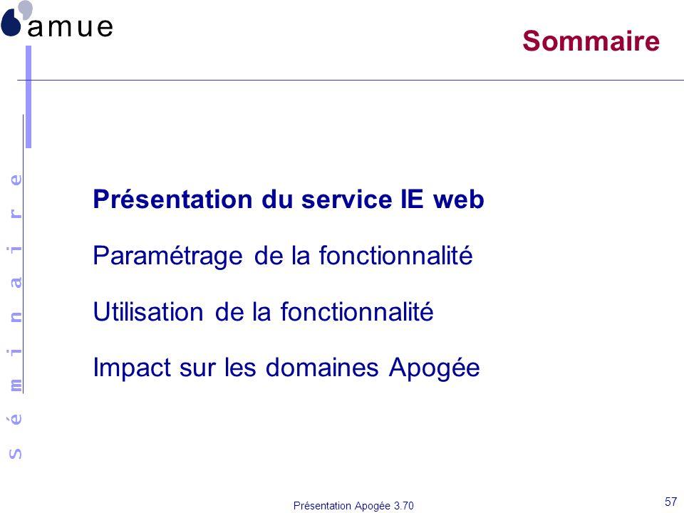 S é m i n a i r e Présentation Apogée 3.70 57 Sommaire Présentation du service IE web Paramétrage de la fonctionnalité Utilisation de la fonctionnalit