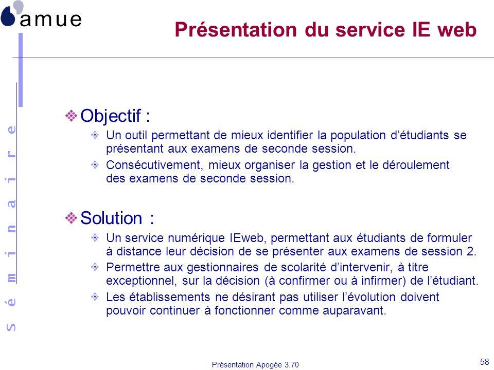 S é m i n a i r e Présentation Apogée 3.70 58 Présentation du service IE web Objectif : Un outil permettant de mieux identifier la population détudian