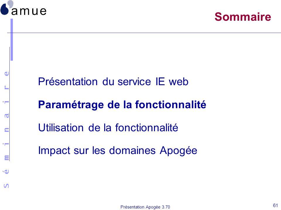 S é m i n a i r e Présentation Apogée 3.70 61 Sommaire Présentation du service IE web Paramétrage de la fonctionnalité Utilisation de la fonctionnalit