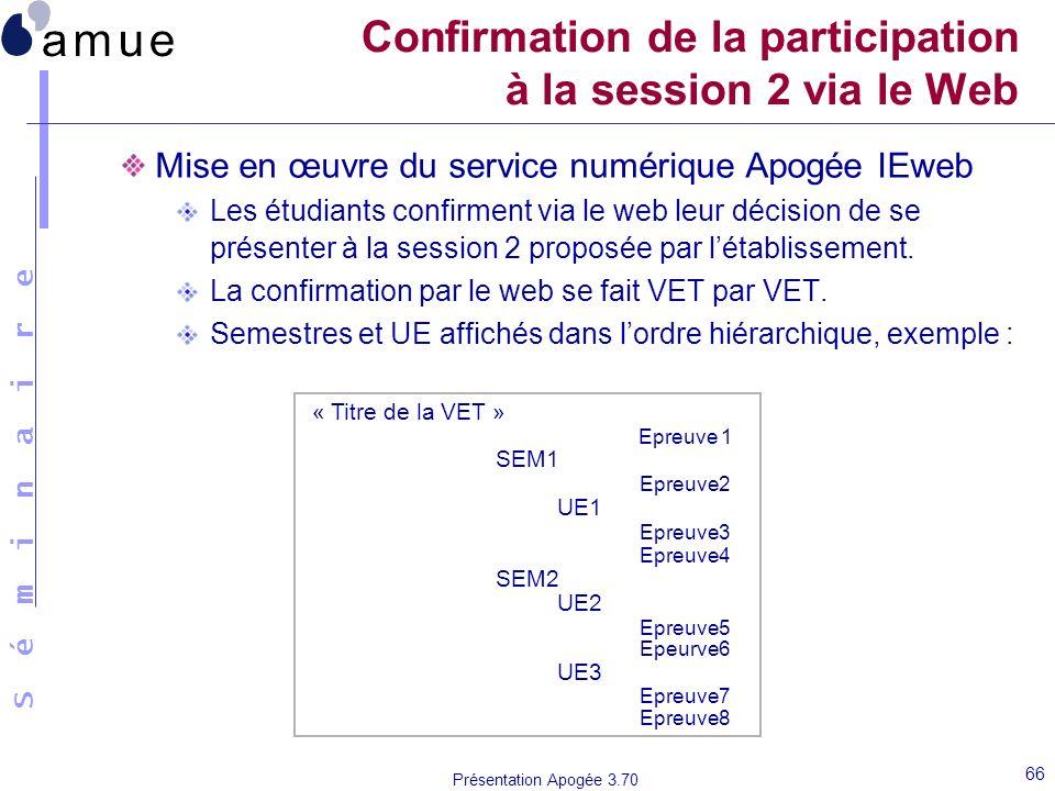 S é m i n a i r e Présentation Apogée 3.70 66 Confirmation de la participation à la session 2 via le Web Mise en œuvre du service numérique Apogée IEw