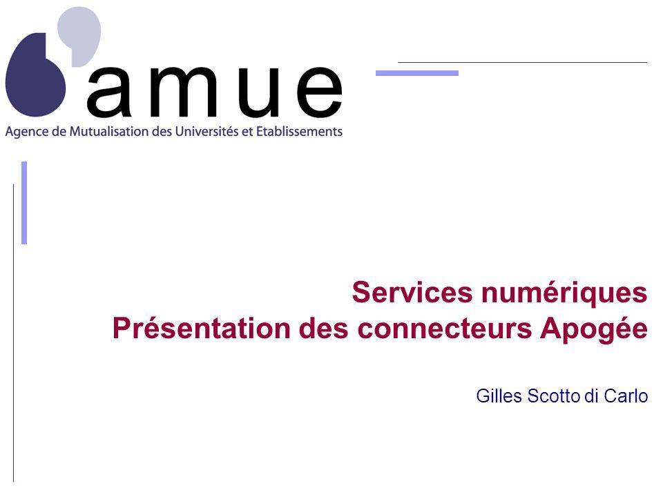 Services numériques Présentation des connecteurs Apogée Gilles Scotto di Carlo
