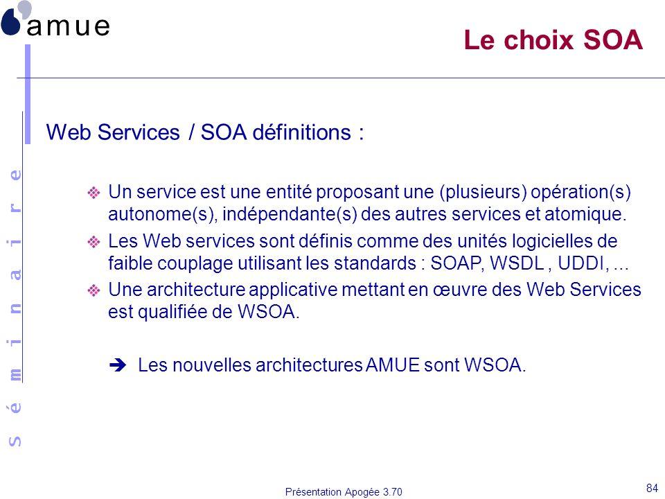 S é m i n a i r e Présentation Apogée 3.70 84 Le choix SOA Web Services / SOA définitions : Un service est une entité proposant une (plusieurs) opérat