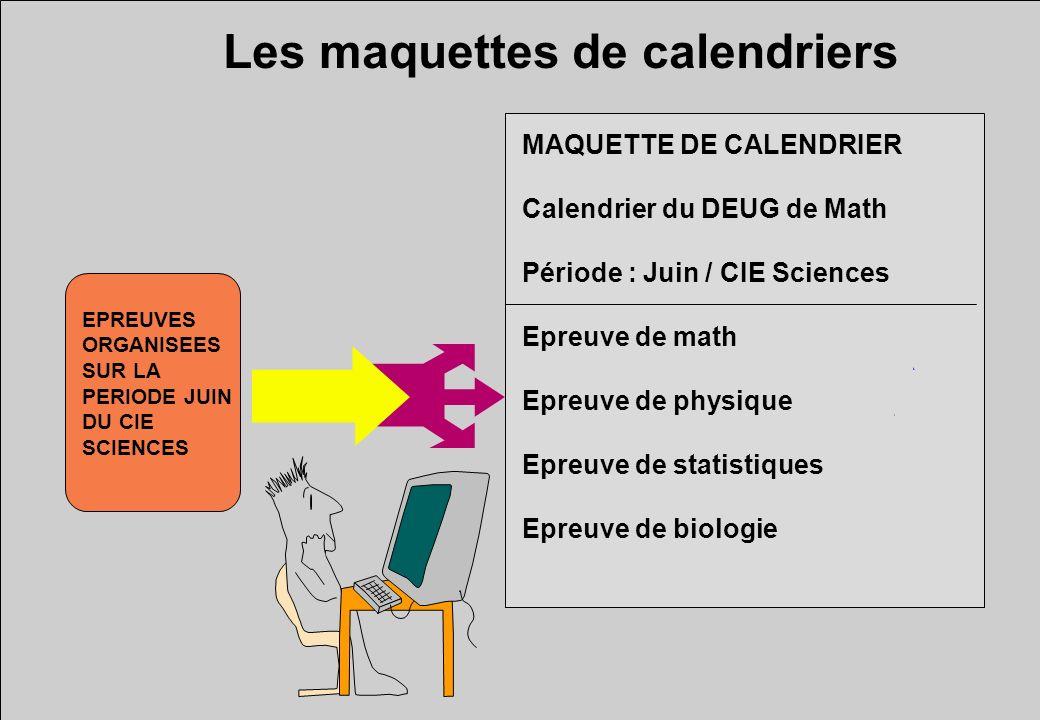 Les maquettes de calendriers MAQUETTE DE CALENDRIER Calendrier du DEUG de Math Période : Juin / CIE Sciences Epreuve de math Epreuve de physique Epreuve de statistiques Epreuve de biologie EPREUVES ORGANISEES SUR LA PERIODE JUIN DU CIE SCIENCES