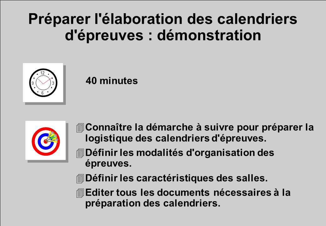 Préparer l élaboration des calendriers d épreuves : démonstration 12 6 3 9 40 minutes 4Connaître la démarche à suivre pour préparer la logistique des calendriers d épreuves.