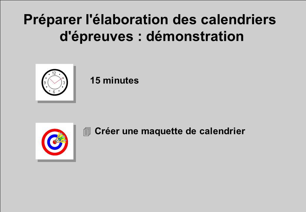 Préparer l'élaboration des calendriers d'épreuves : démonstration 12 6 3 9 15 minutes 4Créer une maquette de calendrier