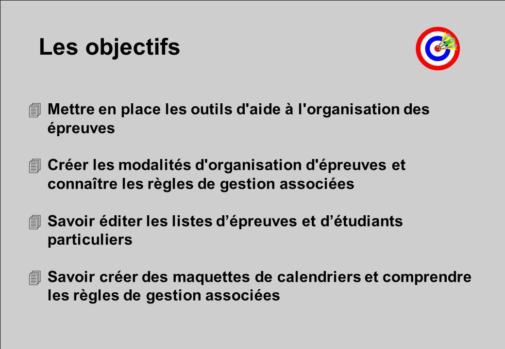Les objectifs 4Mettre en place les outils d'aide à l'organisation des épreuves 4Créer les modalités d'organisation d'épreuves et connaître les règles