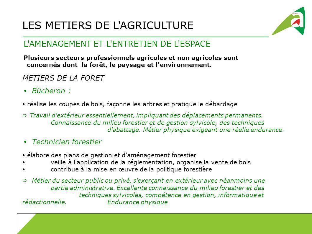 LES METIERS DE L AGRICULTURE L AMENAGEMENT ET L ENTRETIEN DE L ESPACE Plusieurs secteurs professionnels agricoles et non agricoles sont concernés dont la forêt, le paysage et l environnement.