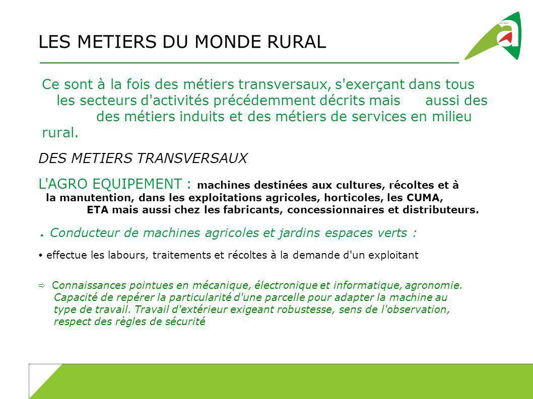 LES METIERS DU MONDE RURAL Ce sont à la fois des métiers transversaux, s exerçant dans tous les secteurs d activités précédemment décrits maisaussi des des métiers induits et des métiers de services en milieu rural.