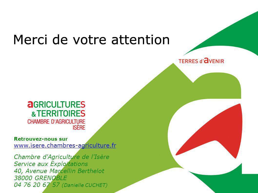 Merci de votre attention Retrouvez-nous sur www.isere.chambres-agriculture.fr www.isere.chambres-agriculture.fr Chambre d'Agriculture de l'Isère Servi