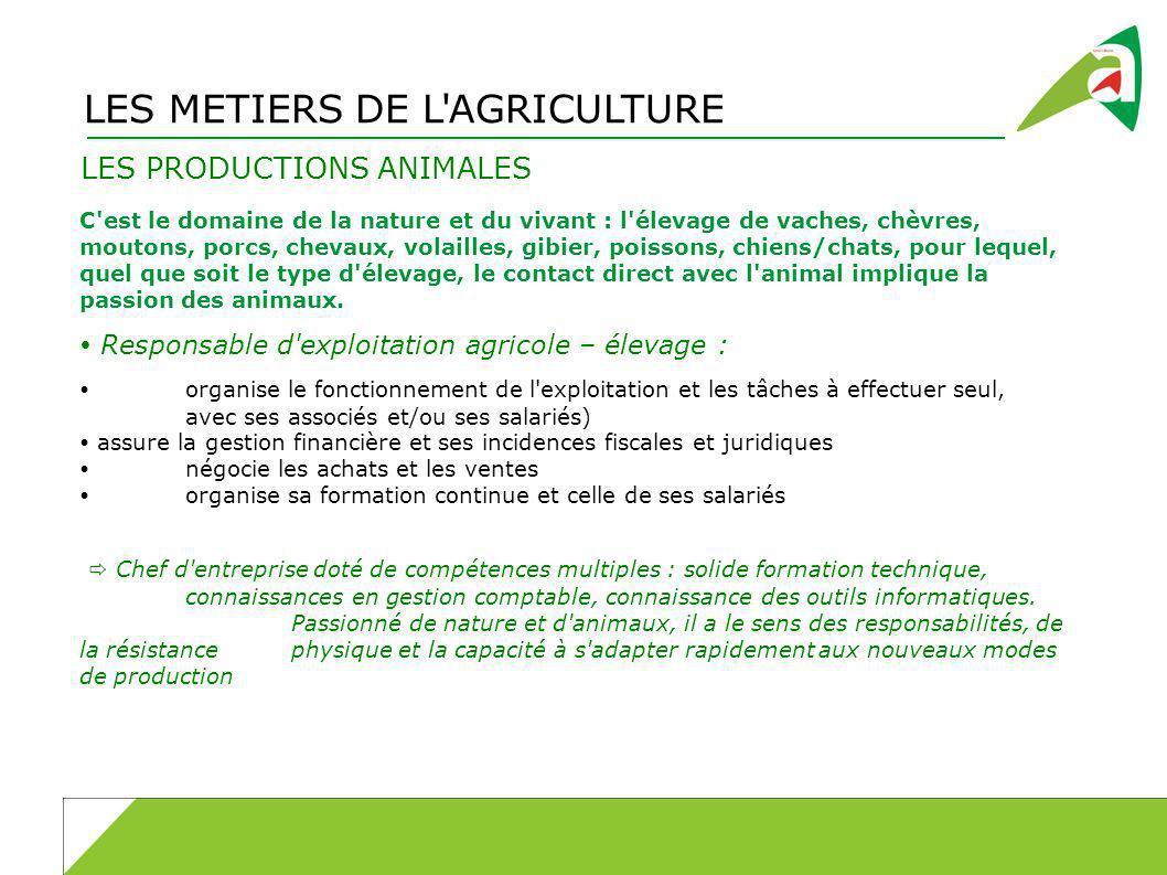 LES METIERS DE L AGRICULTURE LES PRODUCTIONS ANIMALES C est le domaine de la nature et du vivant : l élevage de vaches, chèvres, moutons, porcs, chevaux, volailles, gibier, poissons, chiens/chats, pour lequel, quel que soit le type d élevage, le contact direct avec l animal implique la passion des animaux.
