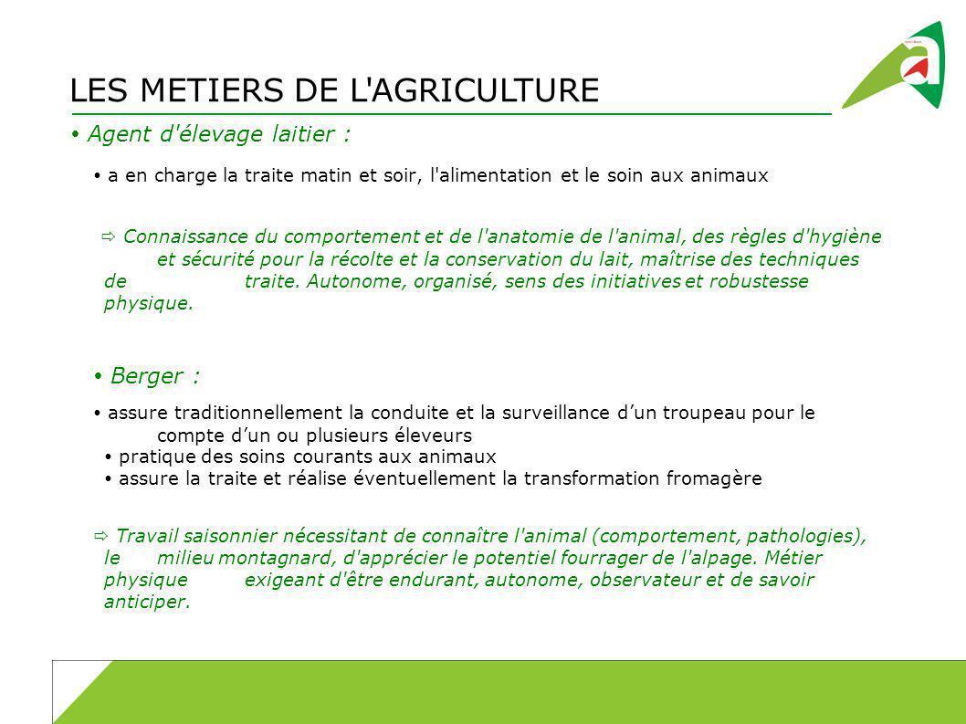 LES METIERS DE L'AGRICULTURE Agent d'élevage laitier : a en charge la traite matin et soir, l'alimentation et le soin aux animaux Connaissance du comp
