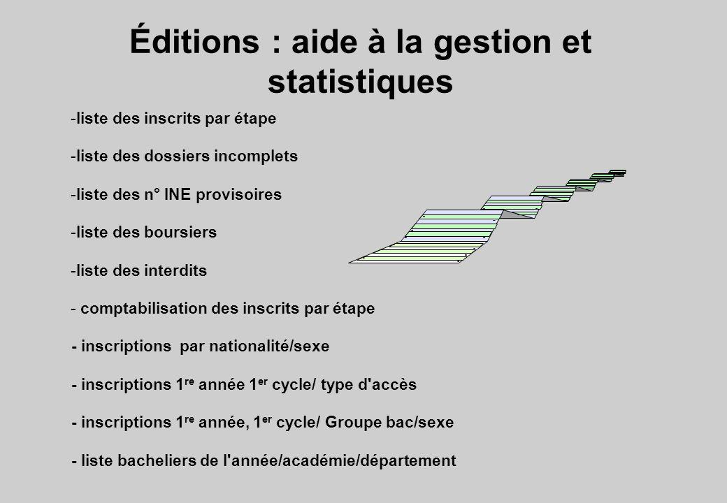 Éditions : aide à la gestion et statistiques -liste des inscrits par étape -liste des dossiers incomplets -liste des n° INE provisoires -liste des bou