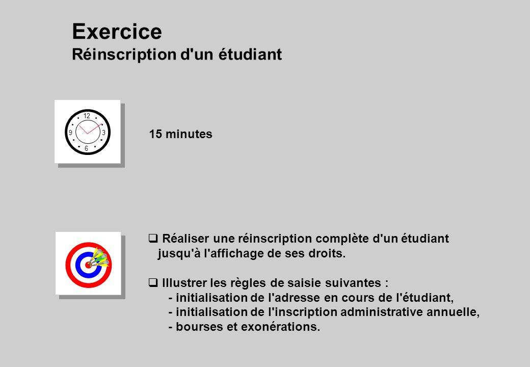 Exercice Réinscription d un étudiant 12 6 3 9 15 minutes Réaliser une réinscription complète d un étudiant jusqu à l affichage de ses droits.
