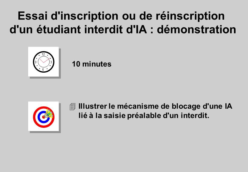 Essai d inscription ou de réinscription d un étudiant interdit d IA : démonstration 12 6 3 9 10 minutes 4Illustrer le mécanisme de blocage d une IA lié à la saisie préalable d un interdit.