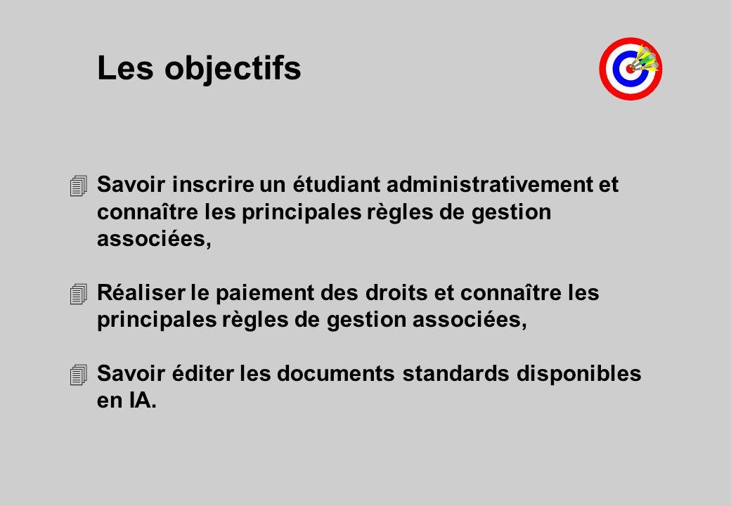 Les objectifs 4Savoir inscrire un étudiant administrativement et connaître les principales règles de gestion associées, 4Réaliser le paiement des droits et connaître les principales règles de gestion associées, 4Savoir éditer les documents standards disponibles en IA.