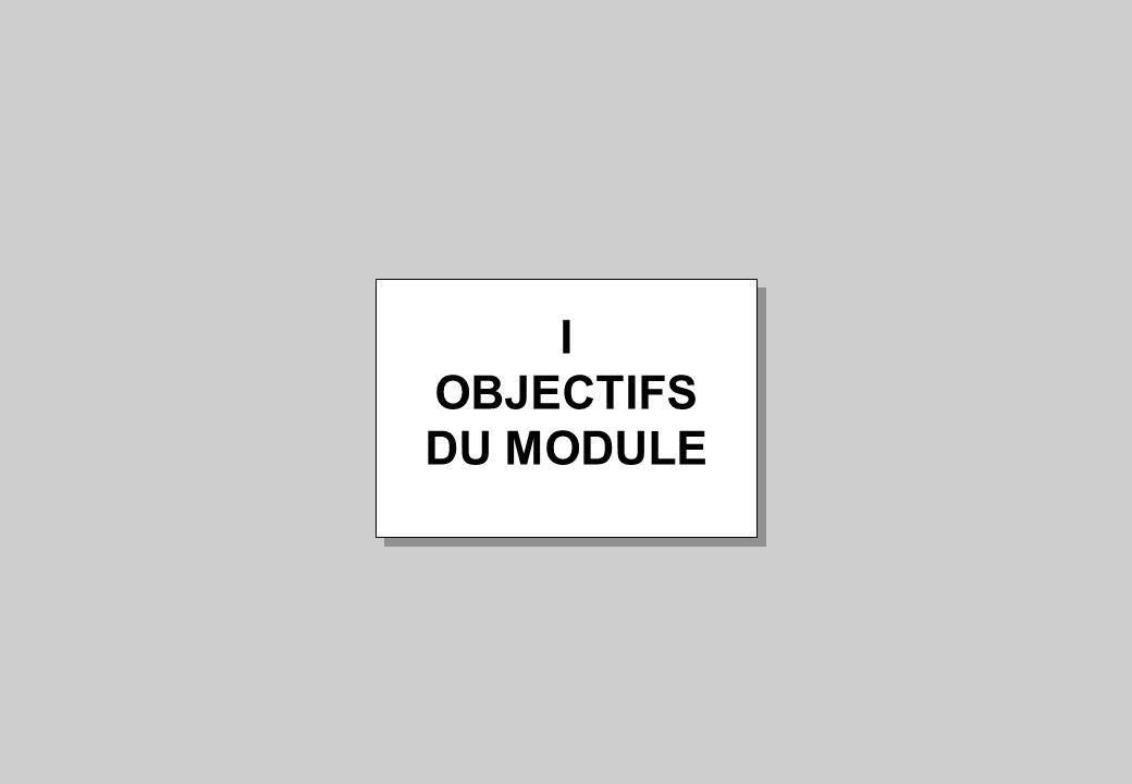 I OBJECTIFS DU MODULE I OBJECTIFS DU MODULE