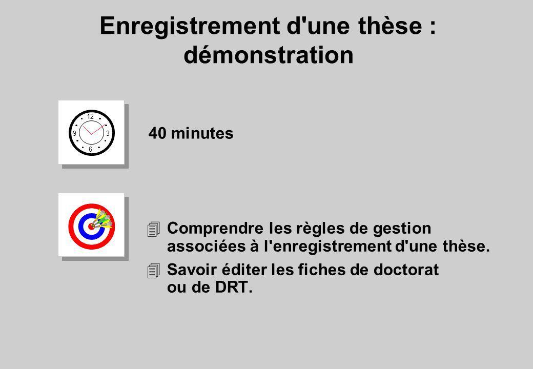 Enregistrement d'une thèse : démonstration 12 6 3 9 40 minutes 4Comprendre les règles de gestion associées à l'enregistrement d'une thèse. 4Savoir édi