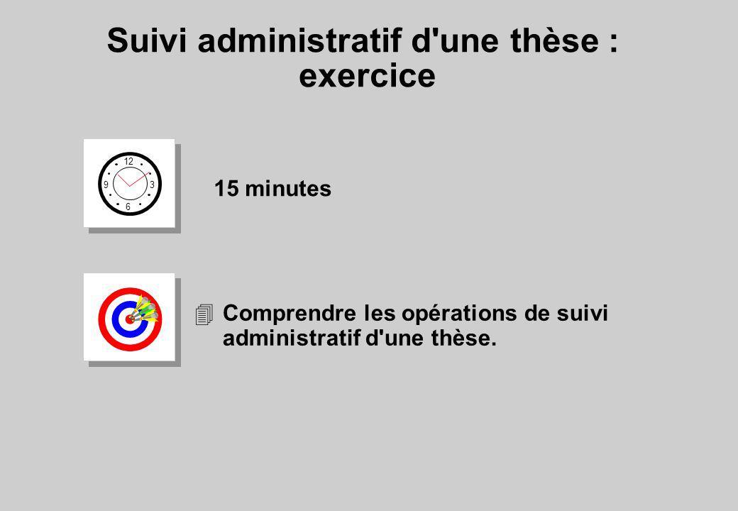 Suivi administratif d'une thèse : exercice 12 6 3 9 15 minutes 4Comprendre les opérations de suivi administratif d'une thèse.