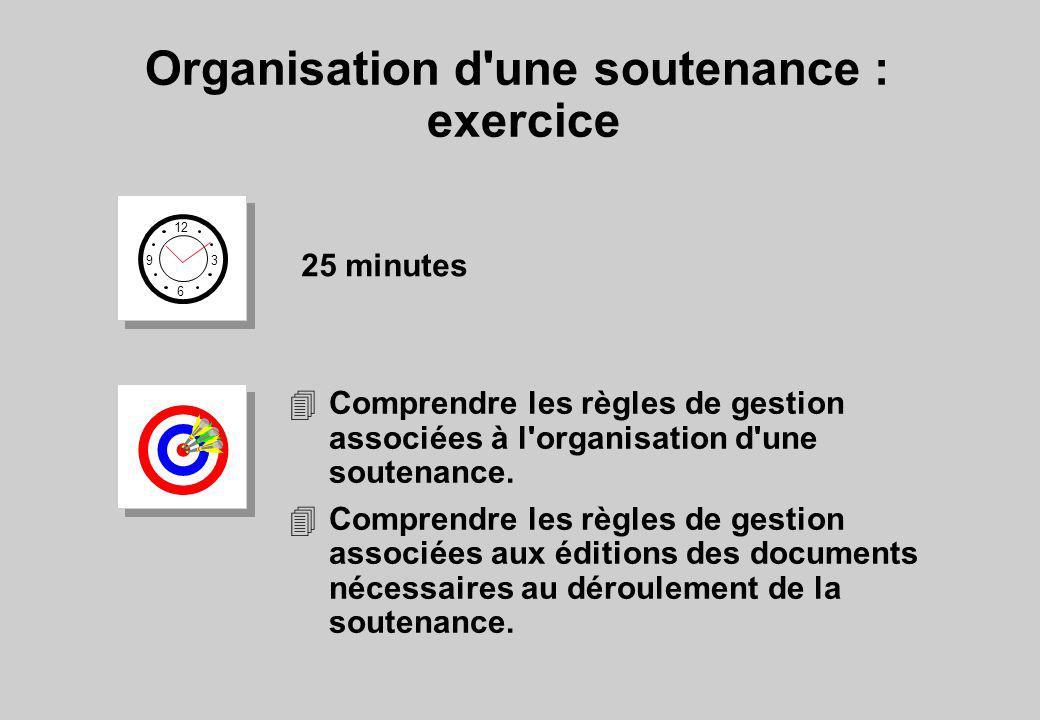 Organisation d'une soutenance : exercice 12 6 3 9 25 minutes 4Comprendre les règles de gestion associées à l'organisation d'une soutenance. 4Comprendr