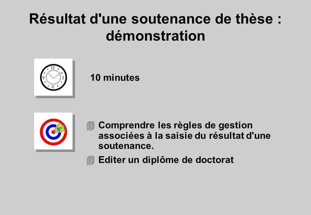 Résultat d'une soutenance de thèse : démonstration 12 6 3 9 10 minutes 4Comprendre les règles de gestion associées à la saisie du résultat d'une soute
