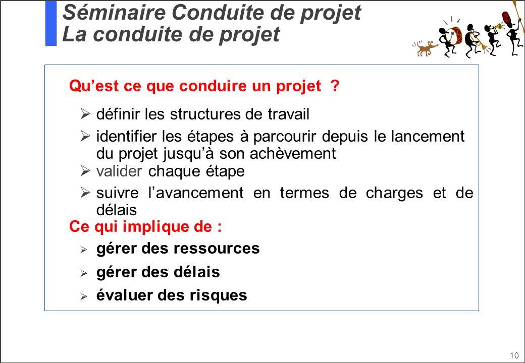 10 Quest ce que conduire un projet ? définir les structures de travail identifier les étapes à parcourir depuis le lancement du projet jusquà son achè