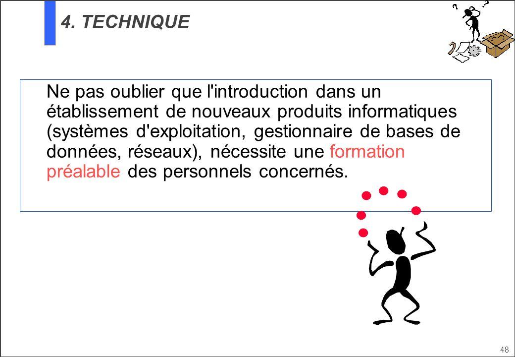 48 Ne pas oublier que l'introduction dans un établissement de nouveaux produits informatiques (systèmes d'exploitation, gestionnaire de bases de donné