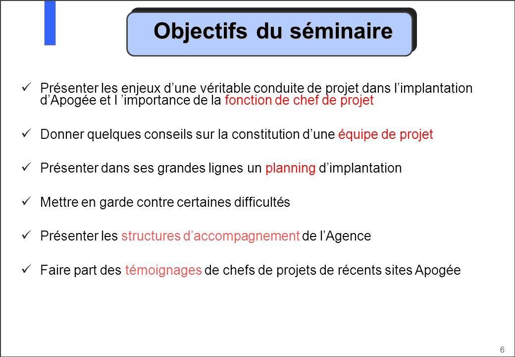 6 Objectifs du séminaire Présenter les enjeux dune véritable conduite de projet dans limplantation dApogée et l importance de la fonction de chef de p
