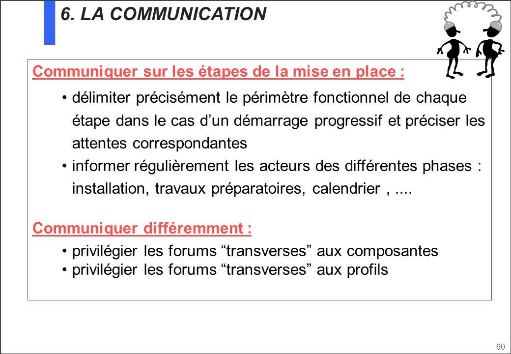 60 Communiquer sur les étapes de la mise en place : délimiter précisément le périmètre fonctionnel de chaque étape dans le cas dun démarrage progressi